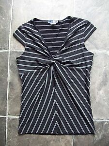 BNWNT-Women-039-s-Jeans-West-Black-amp-White-Stripes-Knit-Top-Size-S
