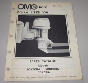 Automobilia 2,6 1caxcra 1cbxcra Parts Catalog Omc Sea Drive Ersatzteilkatalog 2.6 Litre V6