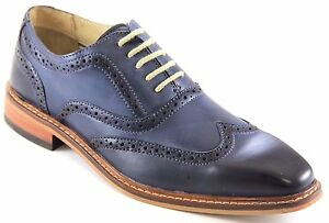 Giorgio Brutini Men's Leather Blue/Blk Dress Shoes Wing Tip ...