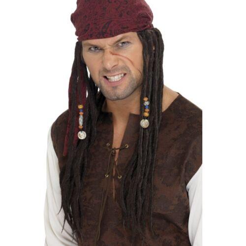 Mens Pirate Wig /& Scarf Fancy Dress of the Caribbean Jack Sparrow Dreadlocks Fun