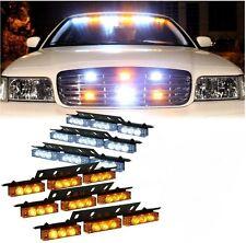 Zone Tech 54 LED Car Truck Strobe Emergency Light Deck Dash Grille White Amber