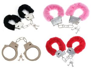 NEW-METAL-BLACK-RED-PINK-FLUFFY-FURRY-HANDCUFFS-FANCY-DRESS-SEXY-ROLE-PLAY-TOY