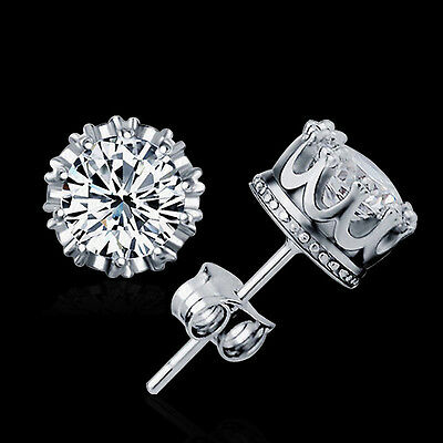 New 925 Silver 8MM Round 2 Carat Cubic Zirconia Stud Earrings Women Fashion UK