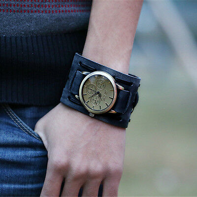 New Style Retro Punk Rock Brown Big Wide Leather Bracelet Cuff Men Watch Cool