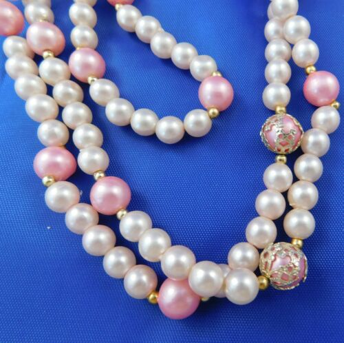 Beautiful Vintage 1960's Pink Faux Pearl Necklace