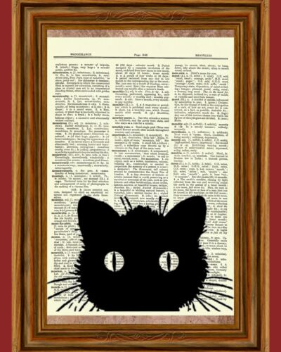 Curious Black Cat Animal Kitty Geekery Dictionary Page Art Print Book Page Gift