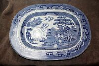 "Antique Staffordshire Blue Willow Transferware 17.75"" X 14"" Platter"