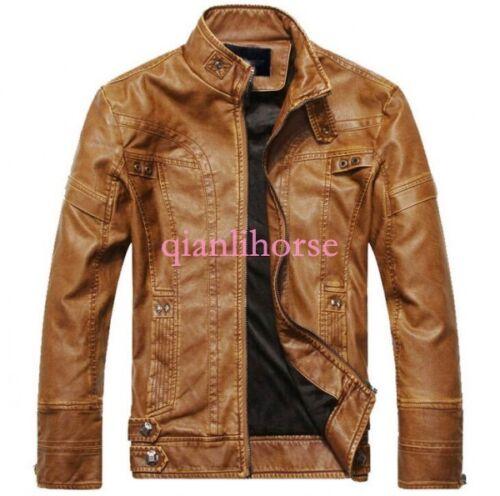 Men Punk Metal Leather Suede Lined Motorcycle Jacket Biker Military Outwear Coat