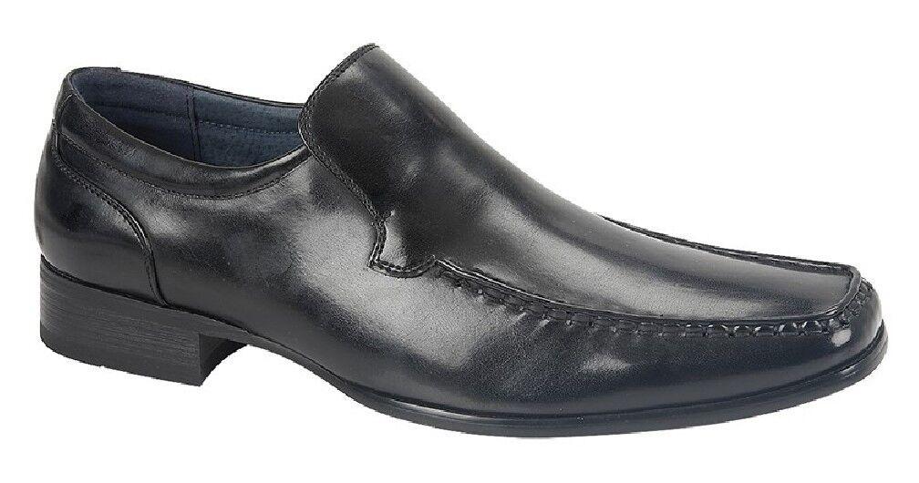 Route21 Dennis Square Black Toe Slip On Shoes Black Square PU 60a000
