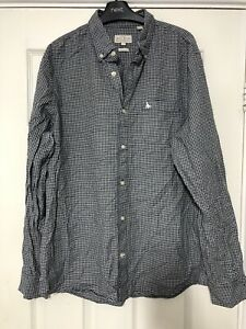 Jack-Wills-Long-Sleeve-Shirt-Mens-Nevy-Blue-Check-Size-Large-L-D28