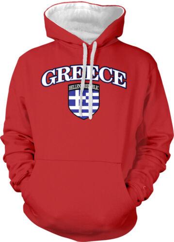 Greece Country Flag European Pride Greek Crest Blue White 2-tone Hoodie Pullover