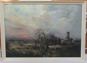 Alfred-W-Saunders-20th-Century-Original-Oil-Painting-of-Cley-Mill-Norfolk