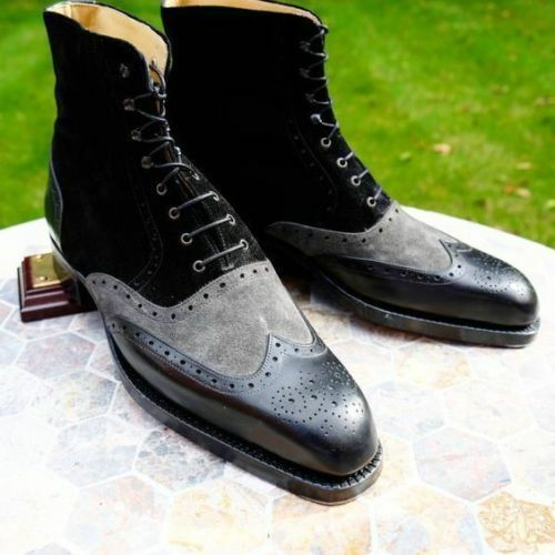 hombres NUOVI SCARPINE IN PELLE DENIM HANDMADE negro zapatos FORMALI negro gris