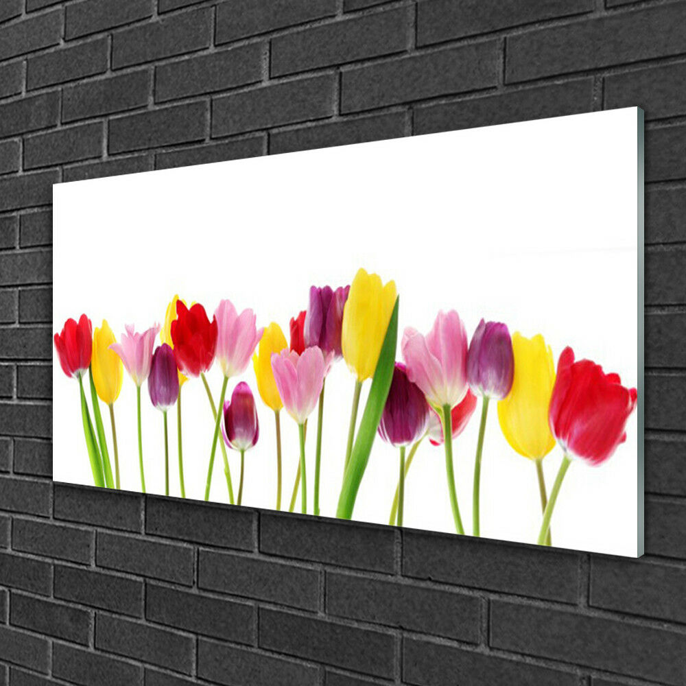 Print on Glass Wall Wall Wall art 100x50 Picture Image Tulips Floral 886098