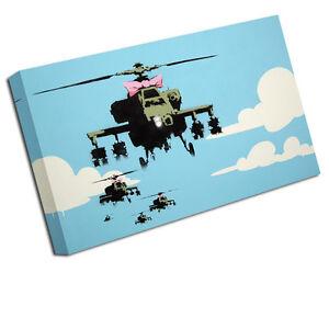 Banksy Toile Estampe Joyeux Apache Hélicoptère Image Murale Ba32 petit - 12 pouces X 8 pouces, moyen 16 pouces, grand 24 pouces, xlarge 30 20 pouces, xxlarge 36 pouces, xxxlarge 42 pouces, x