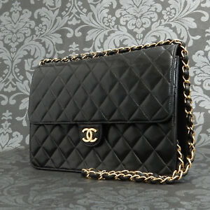 70cf1aff90ac Image is loading Rise-on-Vintage-CHANEL-Matelasse-Lambskin-Leather-Black-