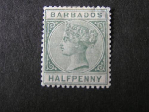 BARBADOS, SCOTT # 60, 1/2p. VALUE GREEN 1882-85 QV ISSUE MH