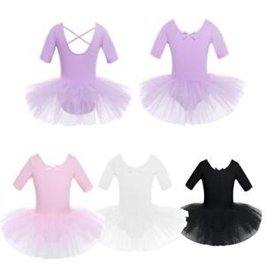 UK Girls Ballet Tutu Dress Gym Dance Leotard Kids Tulle Skirts Dancewear Costume