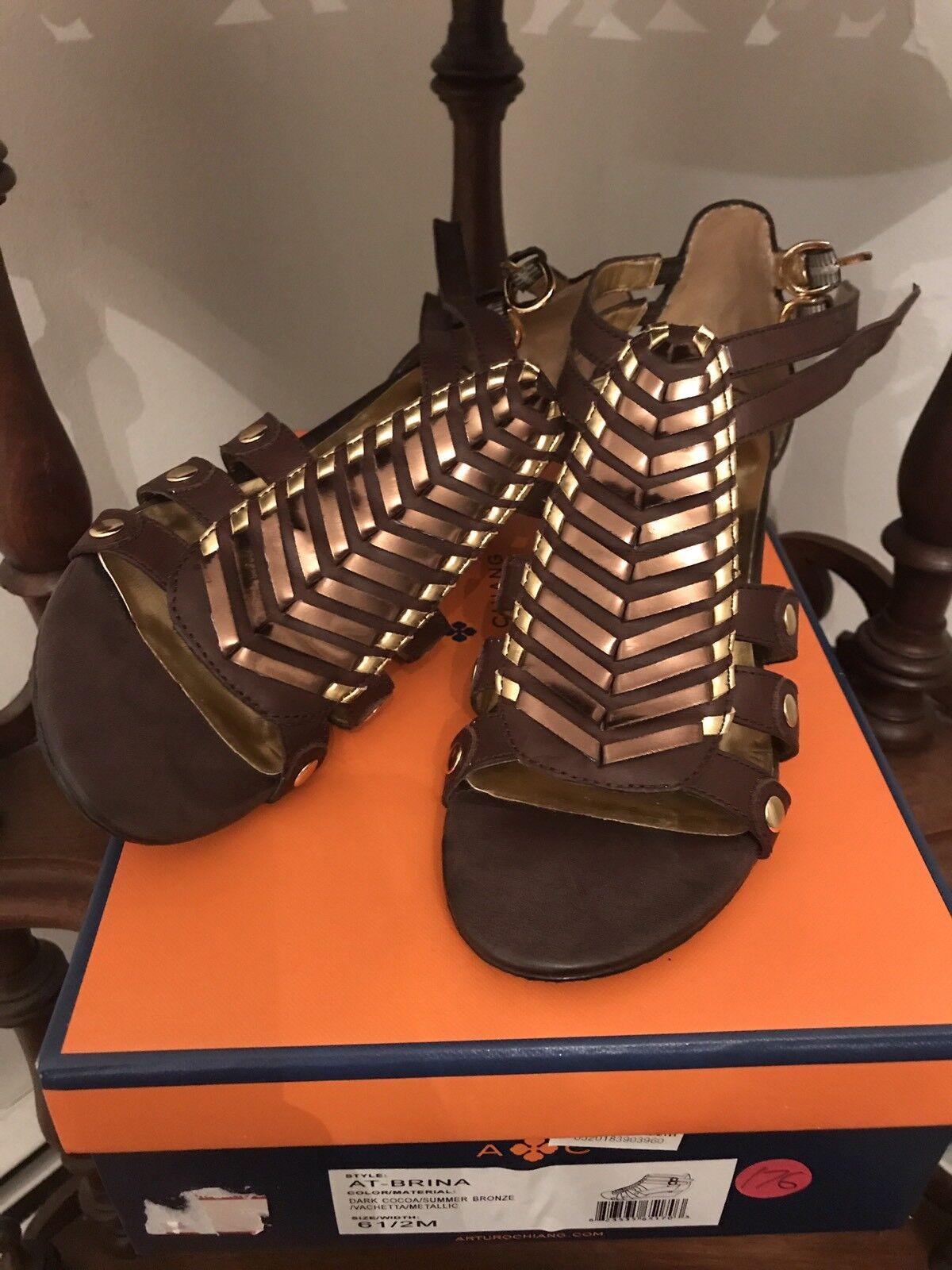 NWB Arturo Chiang's AT-BRINA Stunning SANDALS Summer Bronze Dark Cocoa 6.5 Shoes