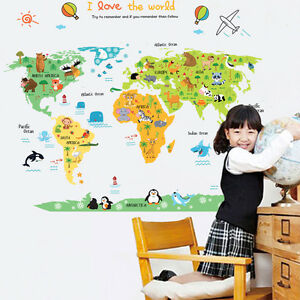 Large World Map Contour Removable Kids Room Decal Nursery Decor - World map for kids room