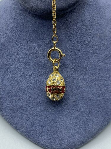 Joan Rivers Gold Crystal Encrusted Faberge Egg Cha
