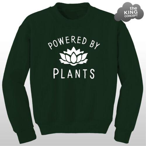 Powered By Plants Sweatshirt Vegan Eat Fruit Vegetarian Animal Lover Sweater Top