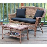 Jeco Wicker Patio Love Seat And Coffee Table Set In Honey With Black Cushion on sale