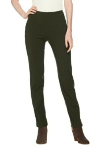 Women With Control Olive Green Slim Leg Pants w// Tummy Control Womens Sz S