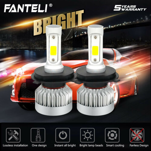 1 Pair H4 9003 HB2 1650W 247500LM Car Fanless LED Headlight CREE Kit 6000K White