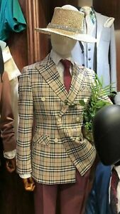 Men Suit Plaid Windowpane Double Breasted Groom Tuxedos Party Prom Dinner Suit