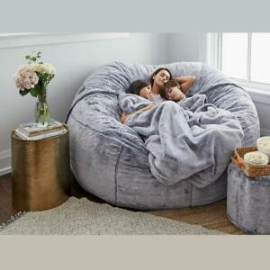 Microsuede-7ft-Foam-Giant-Bean-Bag-COVER-For-Memory-Living-Room-Chair-Lazy-Sofa