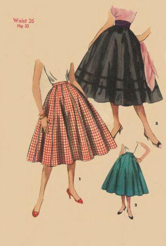 Vintage 1950/'s Sewing Pattern Rockabilly Flared Circle Skirt Jive Swing Waist 26