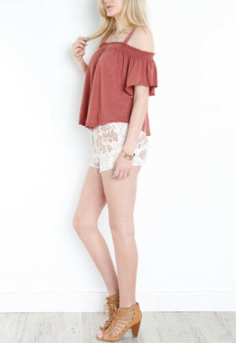 Free People OB577534 Darling Off-The-Shoulder Top in Bright Red