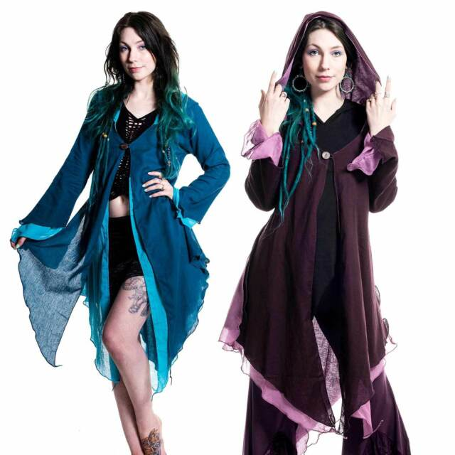 FLOATY FAERY GODDESS TOP, psy trance fairy jacket, plus size cotton hooded top