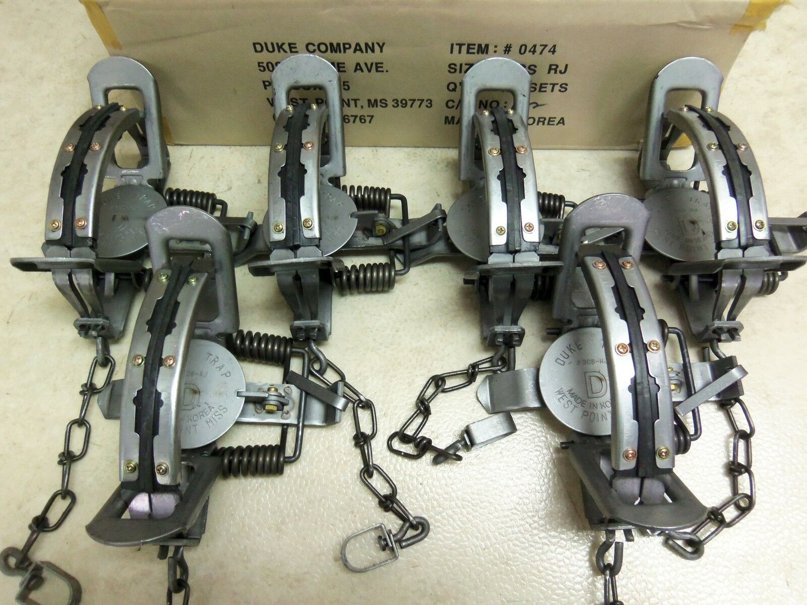 6 New 3 Duke   3 New RUBBER JAW Coil Spring Traps Fox Bobcat Coyote  Trapping 0474 80a52b