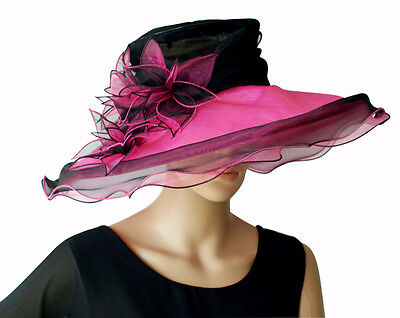 Eleganter Damenhut Pink Schwarz Lilie Organza Hut Brauthut Organzahut Hochzeit QualitäT Und QuantitäT Gesichert Hochzeit & Besondere Anlässe