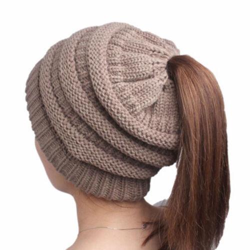 Women BeanieTail Messy High Bun Winter Warm Fleece Pony Tail Beanie Hat Knit Cap