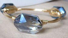 "Denim Blue Crystal Bangle Bracelet ""Bourbon and Bowties"" Inspired"