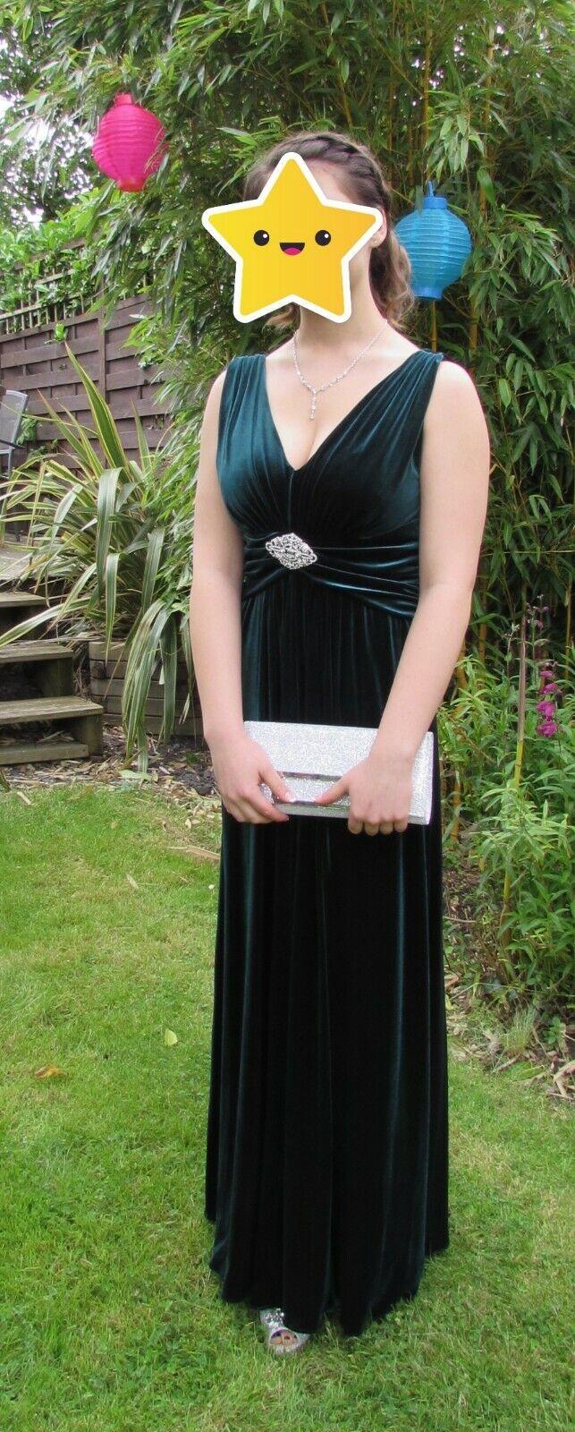 d52c6c402db Elegant Dark Bottle Long Empire Prom Dress Ariella London Sz 10 Emerald  Green niplrs19732-Dresses