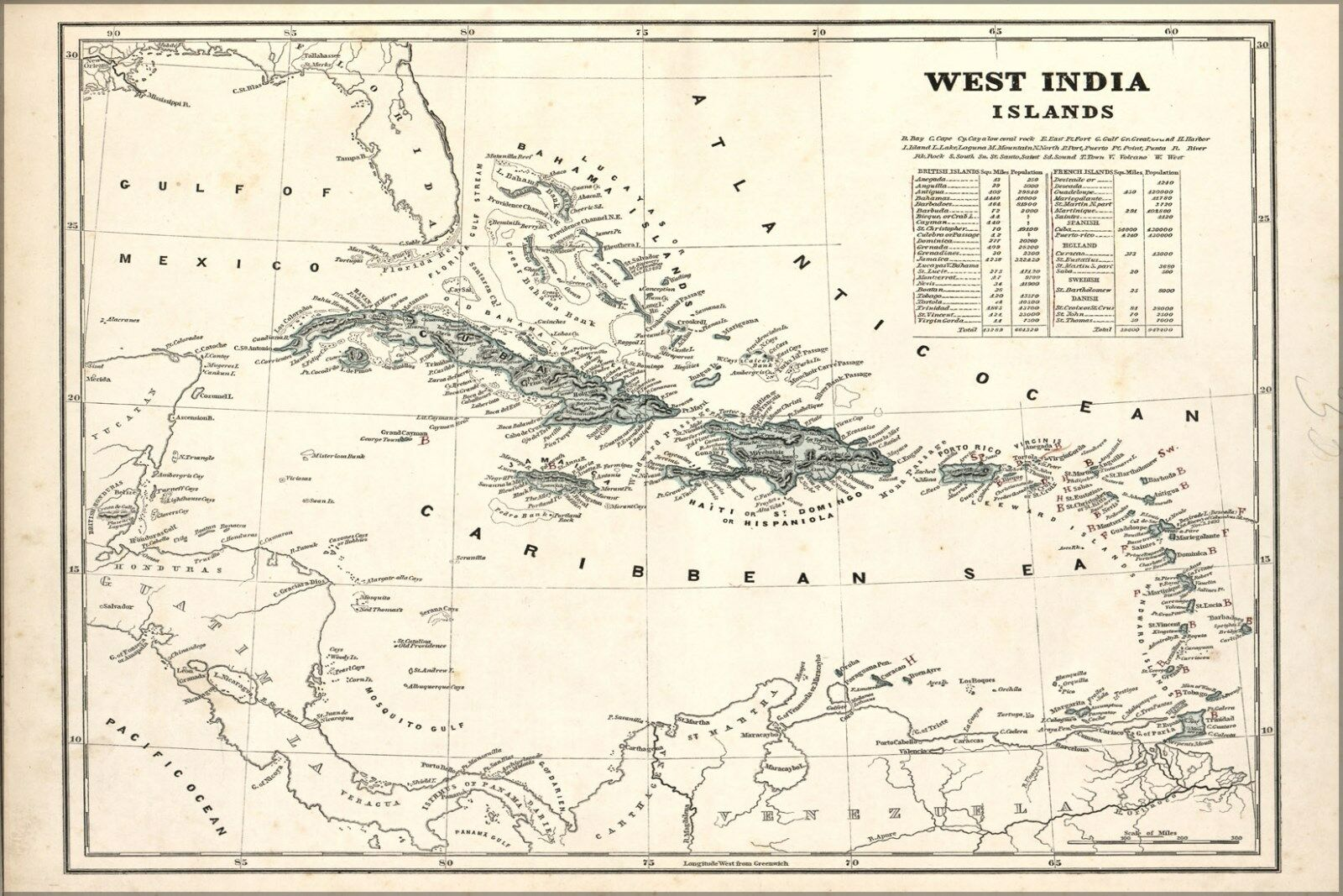 Affiche, Inde Plusieurs Tailles; Carte de Ouest Inde Affiche, Îles Ouest Indies 1842 b64dd9