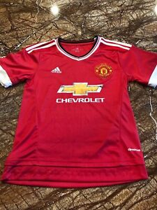 New Adidas Climacool Manchester United Short Sleeve Soccer Jersey Boys Xl Sports Mem, Cards & Fan Shop