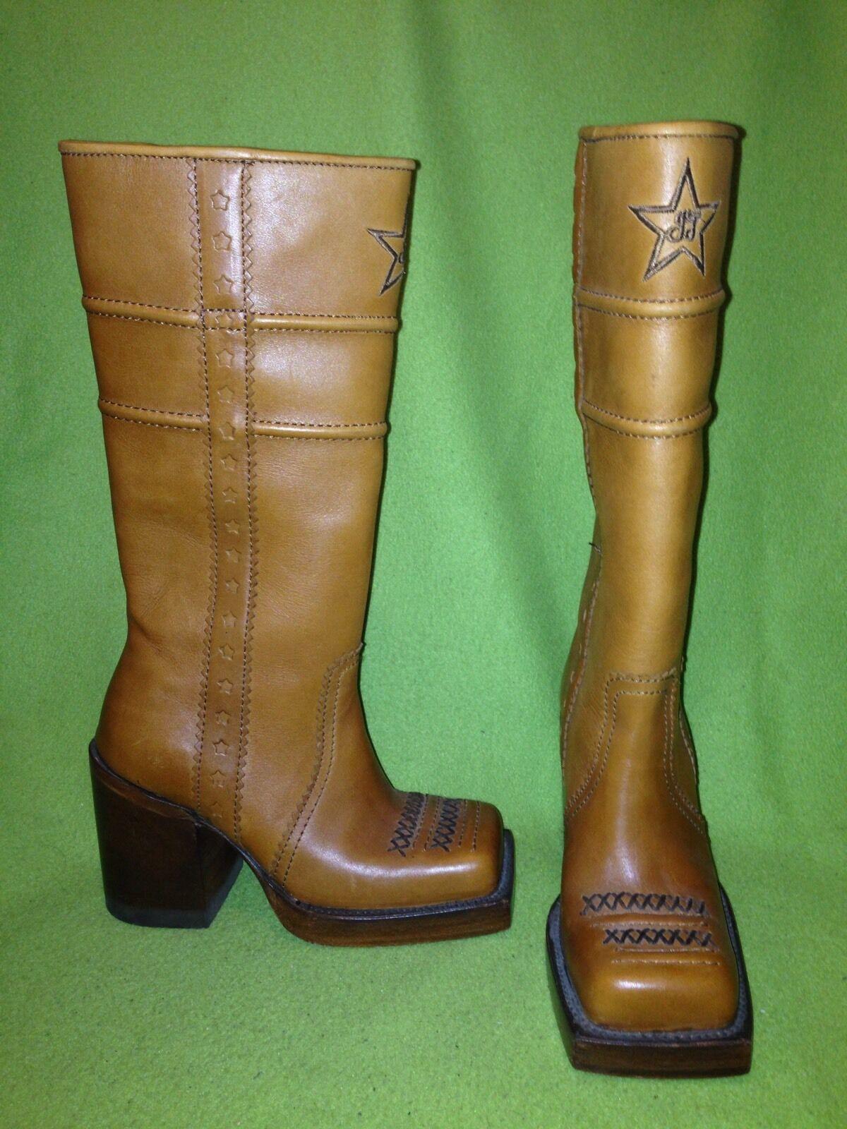 Vintage bspringaaa Fluevog Western Knee höga stövlar 5 5 5  stor rabatt
