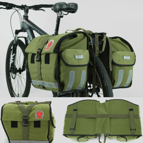50L Waterproof Canvas Rear Seat Bicycle Bag Cycling Bike Double Pannier Handbag
