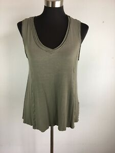 Anthropologie-W5-Womens-Top-M-Medium-Army-Green-Swing-Tank-High-Low-V-Neck
