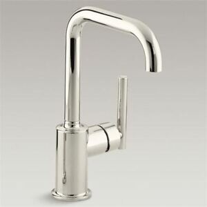 Details about Kohler Purist K-7509-SN Polished Nickel Secondary Swing Spout  Kitchen Faucet
