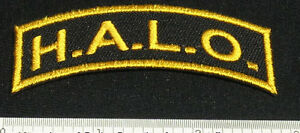Set-of-2-HALO-Patches-High-Altitude-Low-Opening-for-Skydive-Shirt-Cap-Rig-25Q