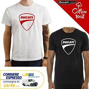 T-Shirt-Ducati-uomo-Maglia-moto-nera-cotone-100-maglietta