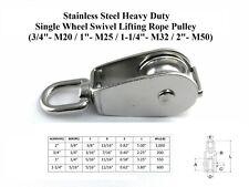 T316 Stainless Steel Heavy Duty Single Wheel Swivel Lifting Rope Pulley Block
