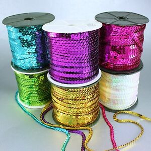 Red 6mm RAYNAG Flat Sequins Trim Ribbon Roll Fringes Crafts Embellishments 100 Yards Spangle String Spool Sewing On Trim Applique for Projects and Costume Making