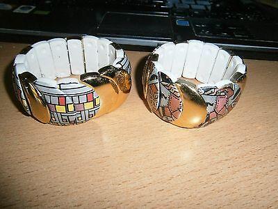1 Dehnbares Armband - Goldfarben - Weiß Mit Muster - Neu